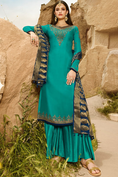 Teal and Blue Satin Georgette Palazzo Suit