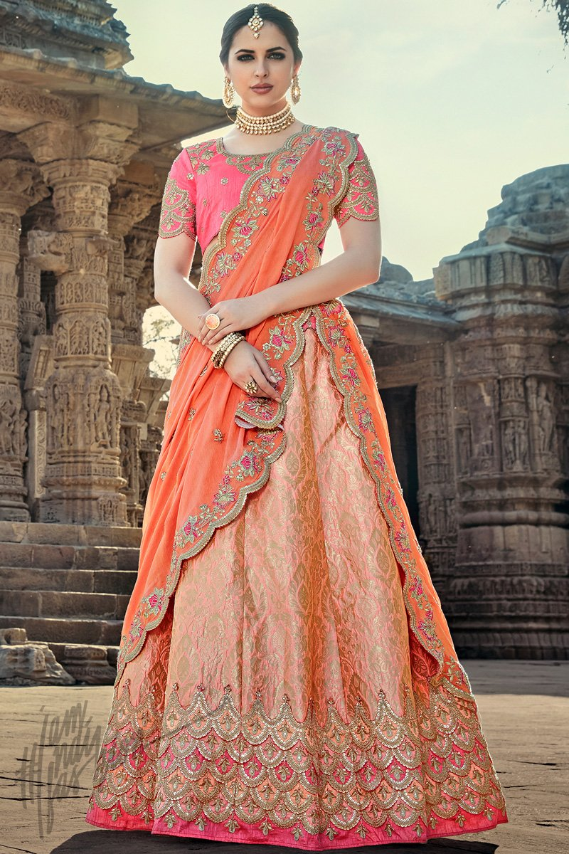 Indi Fashion Peach and Pink Wedding and Festive Lehenga Set