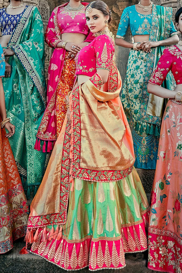 Indi Fashion Green Magenta and Peach Wedding and Festive Lehenga Set