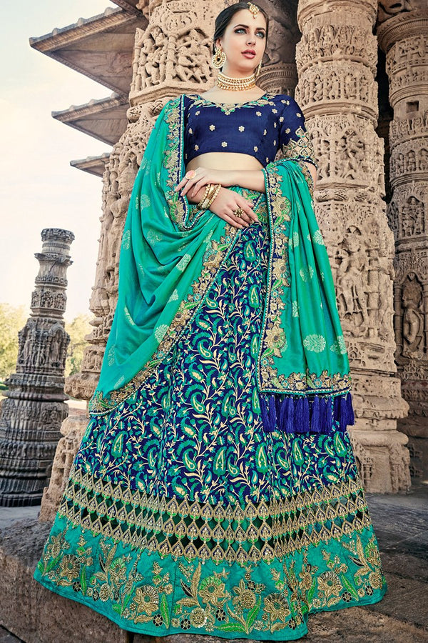 Indi Fashion Blue and Sea Green Wedding and Festive Lehenga Set