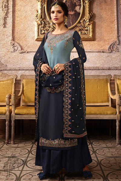 Sky and Navy Blue Ombre Satin Georgette Palazzo Suit