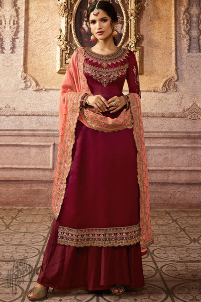 Maroon and Peach Satin Georgette Palazzo Suit