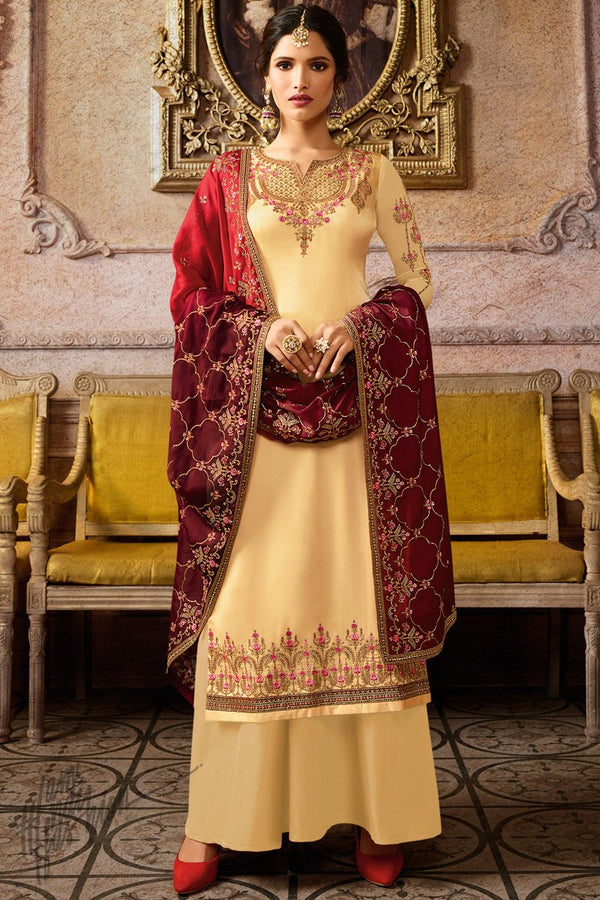 Yellow and Red Satin Georgette Palazzo Suit
