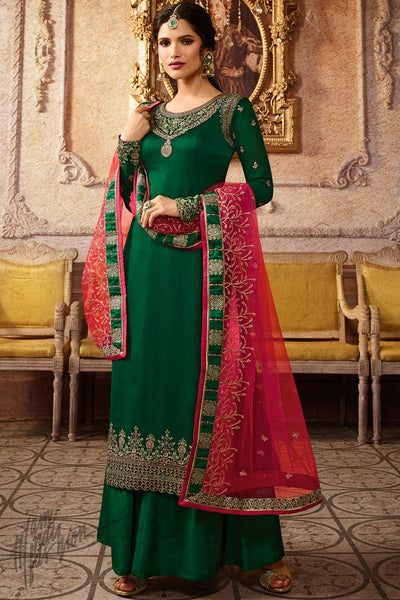 Green and Red Satin Georgette Palazzo Suit