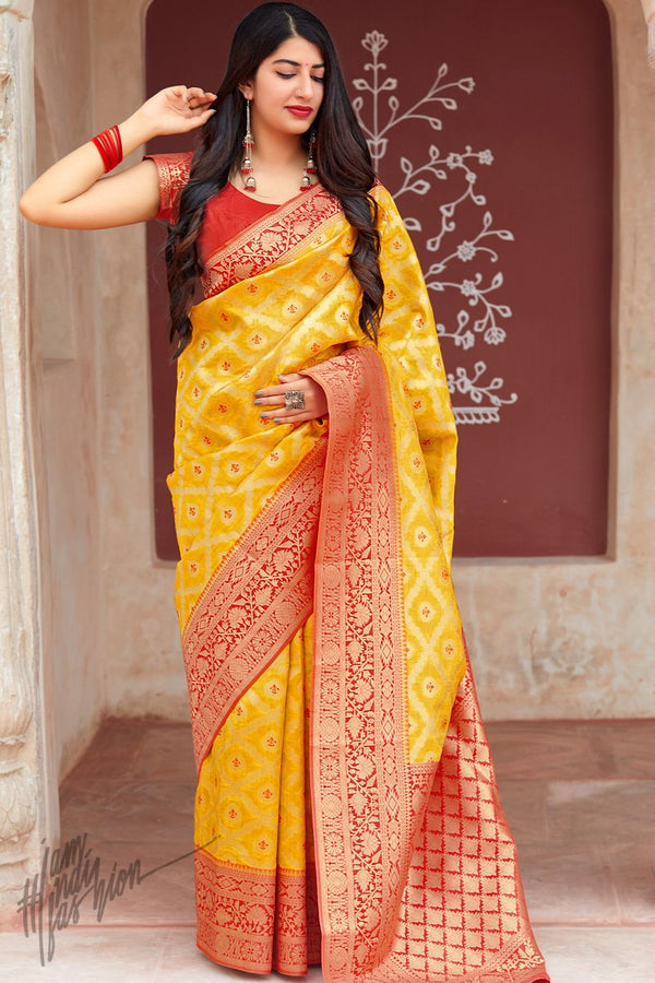 Turmeric Yellow and Red Weaving Silk Saree