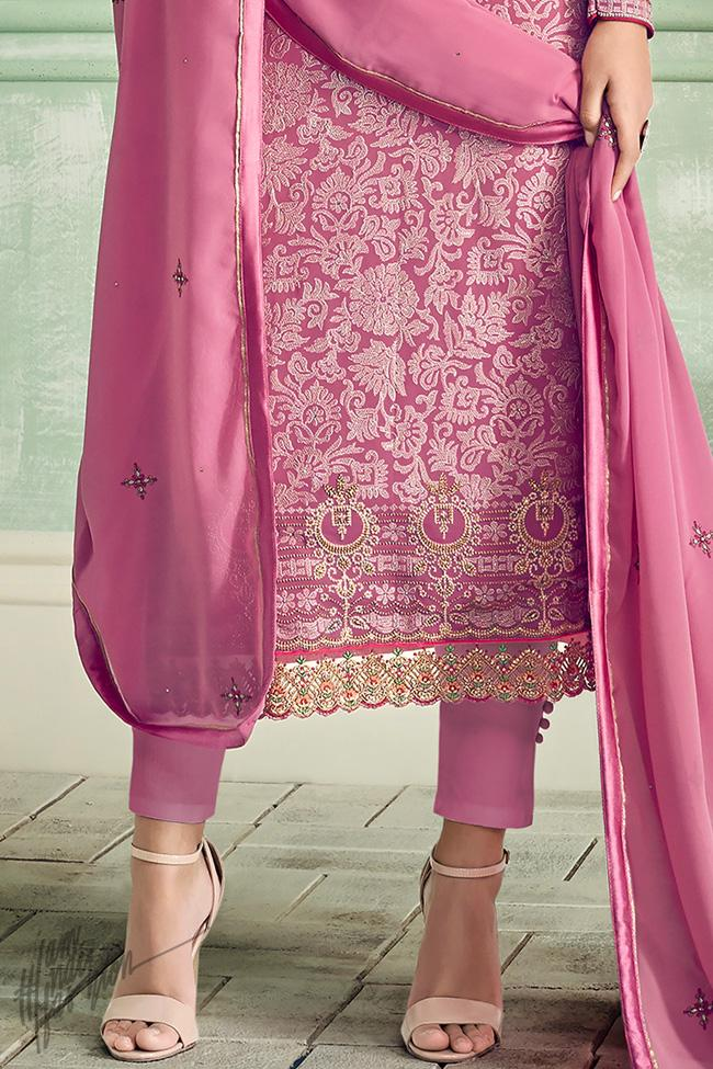 Rose Pink Georgette Straight Suit