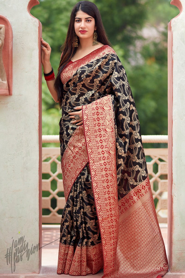 Black and Red Weaving Silk Saree