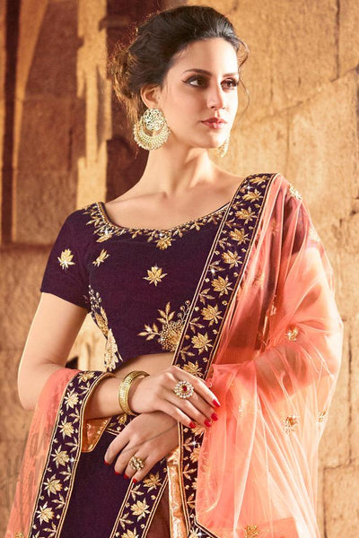 Indi Fashion Dark Purple and Peach Velvet Lehenga Set