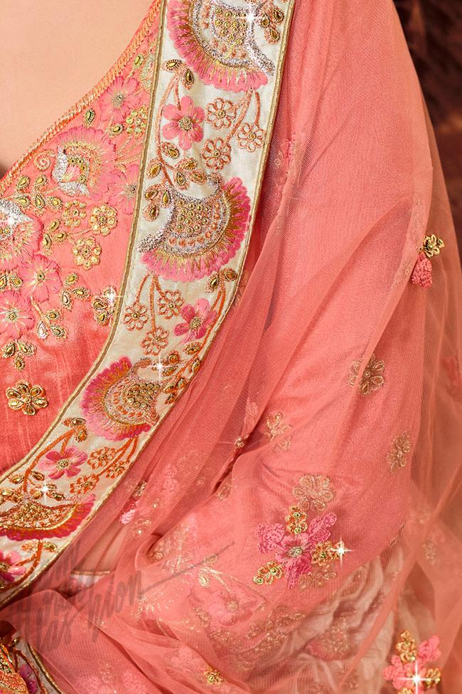 Indi Fashion Beige and Pink Net Lehenga Set