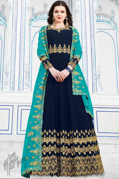 Navy Blue Soft Georgette Anarkali Suit