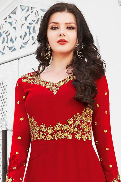 Red Soft Georgette Anarkali Suit