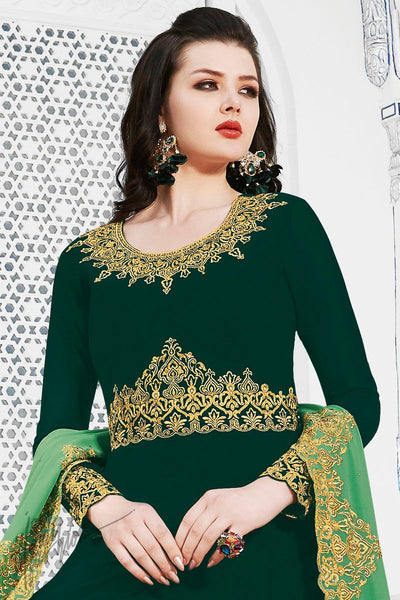 Green Soft Georgette Anarkali Suit