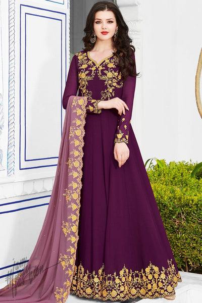 Wine Soft Georgette Anarkali Suit