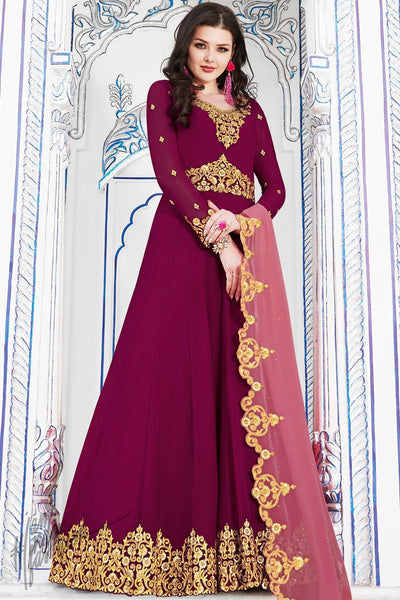 Jam Purple Soft Georgette Anarkali Suit
