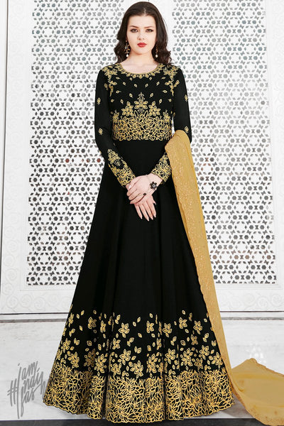 Black Soft Georgette Anarkali Suit