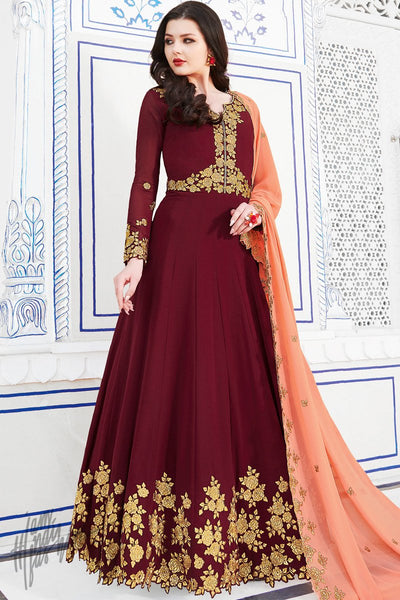 Jam Red Soft Georgette Anarkali Suit