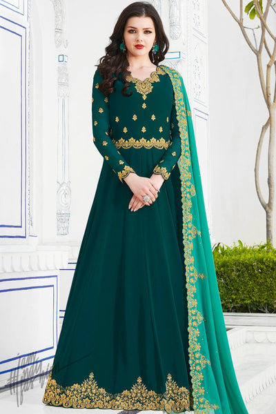 Ocean Blue Soft Georgette Anarkali Suit