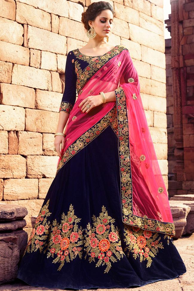 Indi Fashion Blue and Magenta Velvet Lehenga Set