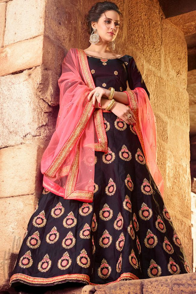 Indi Fashion Wine and Pink Velvet Lehenga Set