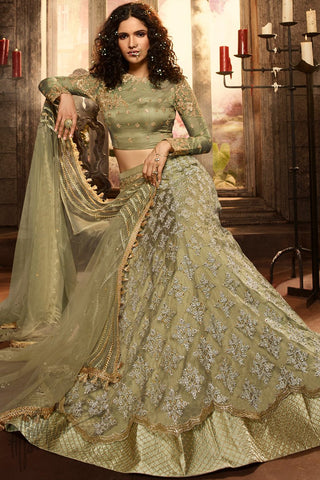 Light Olive Premium Net Lehenga Set
