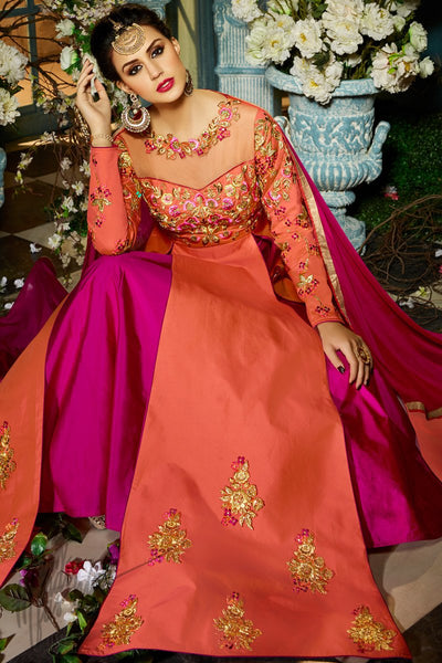 Indi Fashion Peach and Purple Taffeta Silk Long Jacket Style Suit with Ghaghara