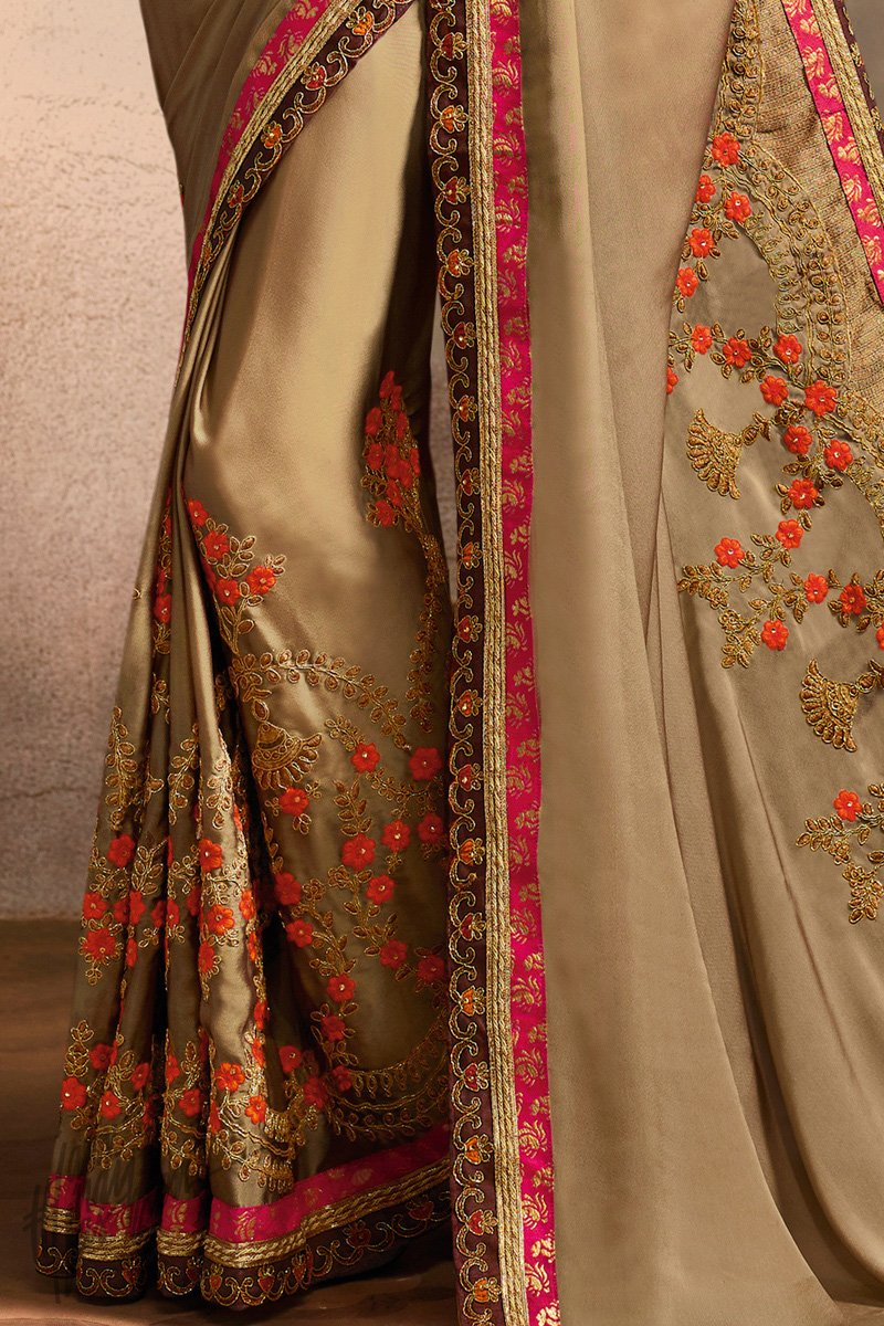 Chiku and Wine Art Silk Festive Saree