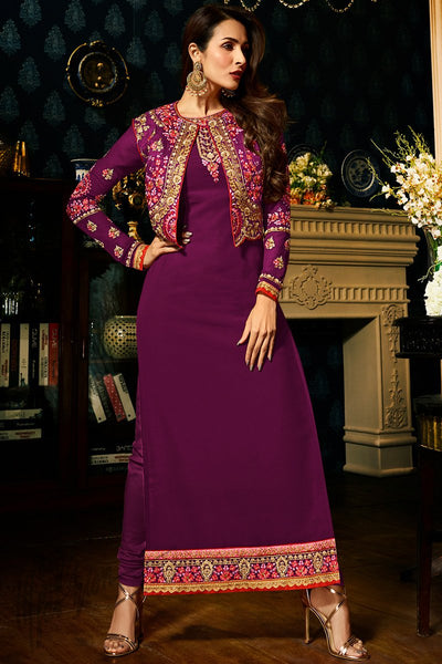 Indi Fashion Purple Faux Georgette Straight Suit with Koti Jacket