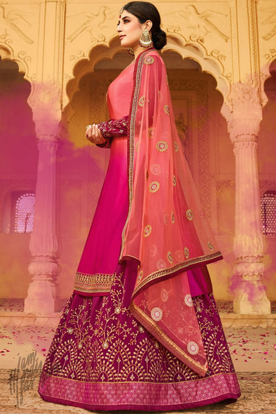 Pink and Magenta Ombre Satin Georgette Lehenga Set