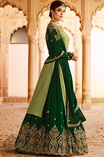 Olive and Forest Green Satin Georgette Lehenga Set