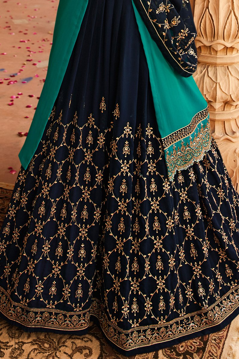 Teal and Midnight Blue Satin Georgette Lehenga Set