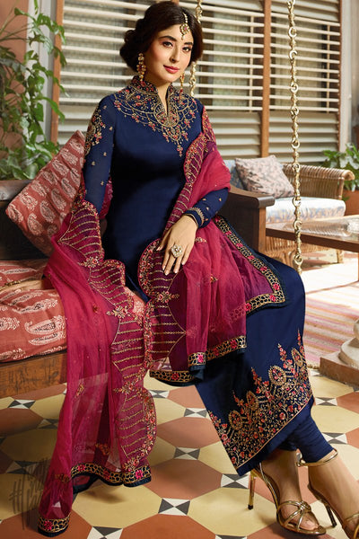 Navy Blue Satin Georgette Straight Suit