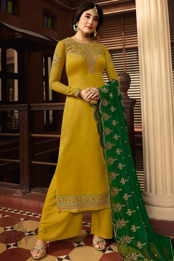 Mustard Satin Georgette Palazzo Suit