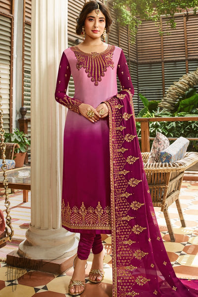 Pink Ombre Satin Georgette Straight Suit