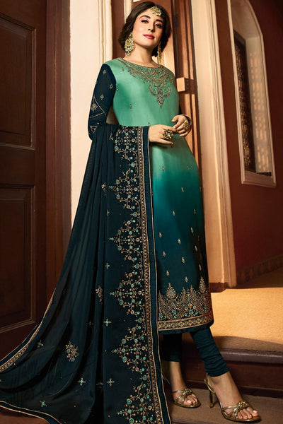 Green Ombre Satin Georgette Straight Suit
