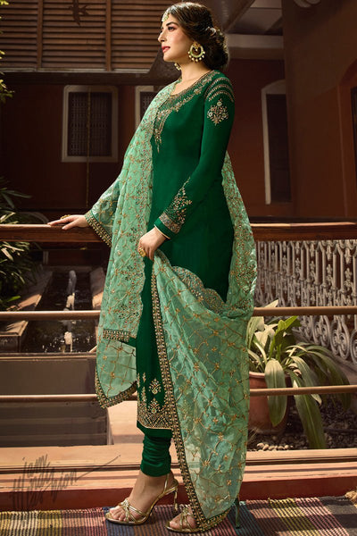 Green Satin Georgette Straight Suit