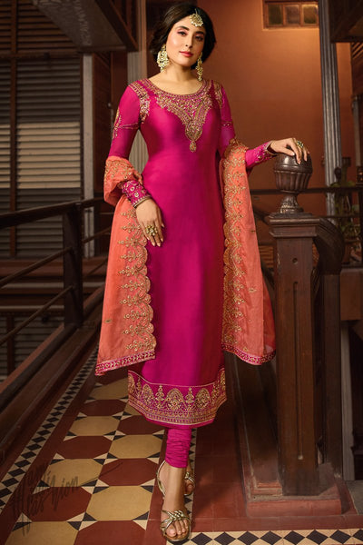 Hot Pink Satin Georgette Straight Suit