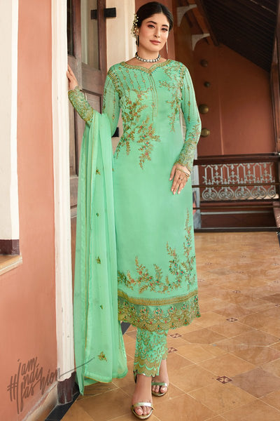 Mint Green Satin Georgette Straight Suit