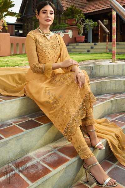 Honey Yellow Satin Georgette Straight Suit