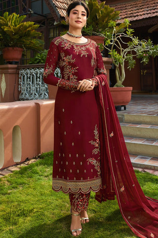 Maroon Satin Georgette Straight Suit