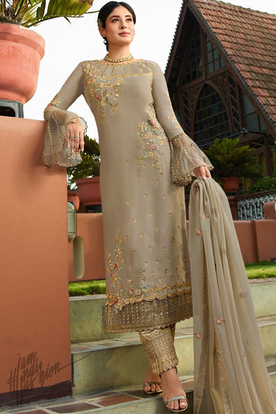 Gray Satin Georgette Straight Suit