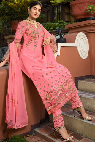 Pink Satin Georgette Straight Suit