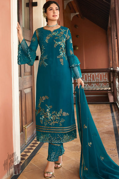 Blue Satin Georgette Straight Suit