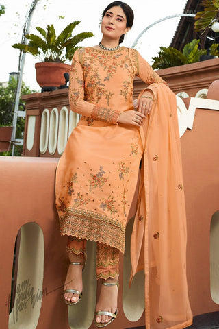 Peach Satin Georgette Straight Suit