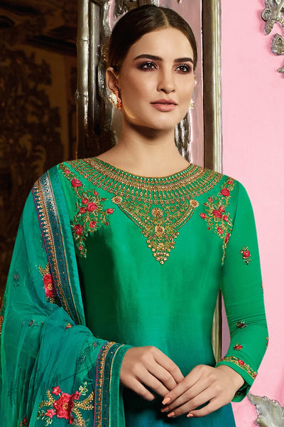 Green and Blue Ombre Satin Georgette Straight Suit