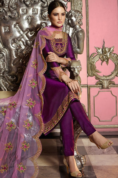 Eggplant Purple Satin Georgette Straight Suit