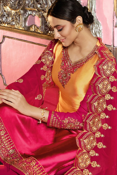 Honey Yellow and Hot Pink Ombre Satin Georgette Straight Suit