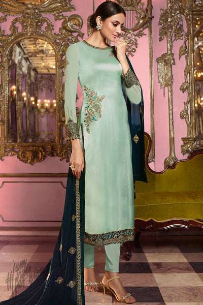 Light Pista and Dark Green Satin Georgette Straight Suit