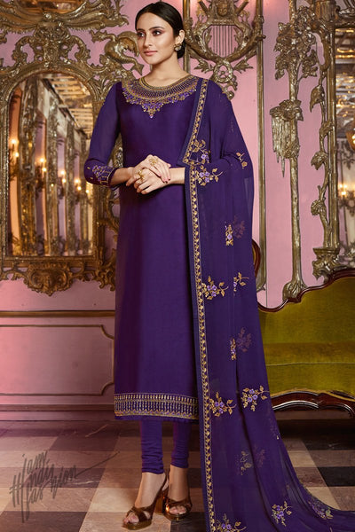 Violet Satin Georgette Straight Suit