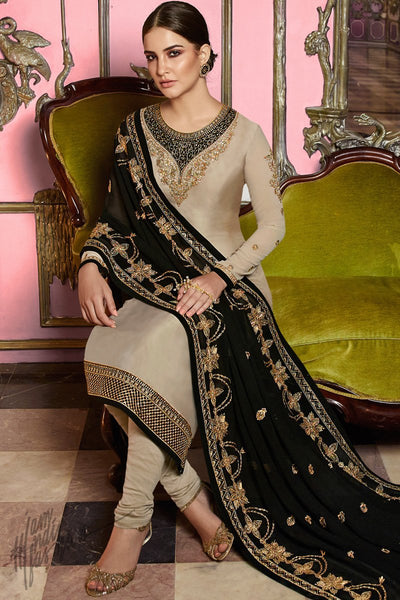 Light Coffee and Black Satin Georgette Straight Suit