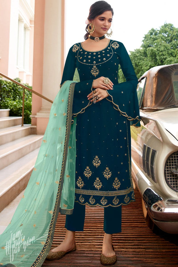 Peacock and Tiffany Blue Georgette and Net Straight Suit with Skirt and Pants